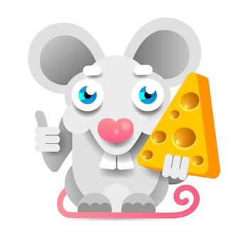 Śmieszna i śliczna mysz stoi i trzyma ser. biała mysz