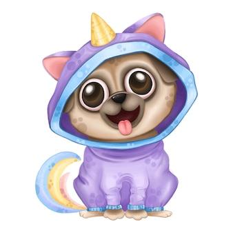 Śmieszna jednorożec mopsa kreskówki ilustracja. śliczny mops szczeniak w kolorze jednorożca.