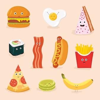 Śmieszna karmowa postać z kreskówki odosobniona ilustracja. ikona twarzy pizza, ciasto, jajecznica, bekon, banan, burger, hot dog, bułka, frytki.
