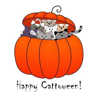 Śmieszna karta z pozdrowieniami wesołego halloween. kocięta w dyni. ilustracja wektorowa.