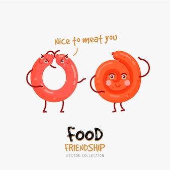 Śmieszna karta z przyjaźnią kiełbasek. ilustracja fast food.