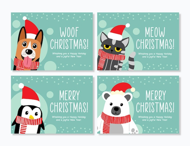 Śmieszna kartka świąteczna ze zwierzętami
