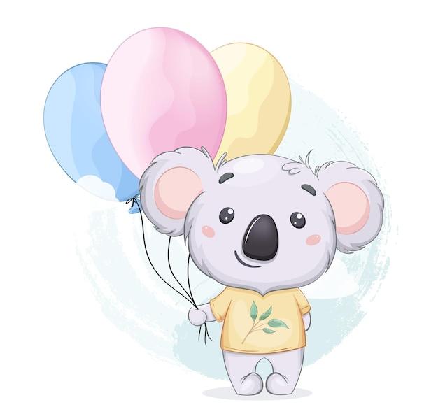 Śmieszna koala z balonami słodka postać z kreskówek nadaje się do drukowania baby shower itp