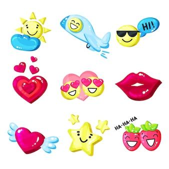Śmieszna kolorowa kreskówka kolorowa glansowana uśmiech maskotka ustawia ilustrację na białym tle