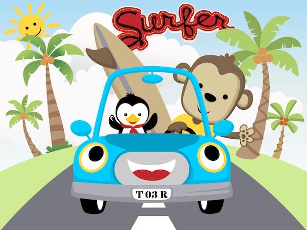 Śmieszna kreskówka małpa z małym pingwinem na samochodzie