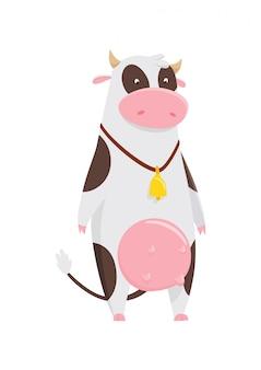 Śmieszna krowa postać z kreskówki