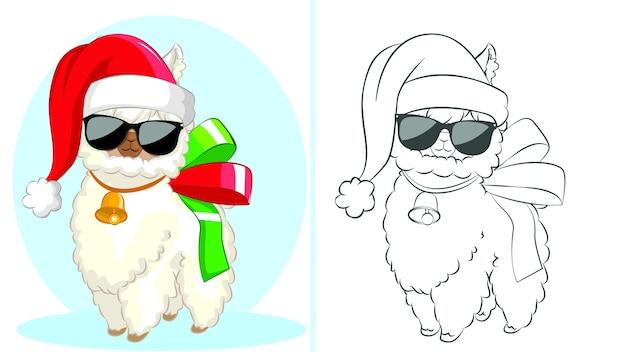 Śmieszna lama w czapce mikołaja i czarnych okularach, kolorowanka dla dzieci.