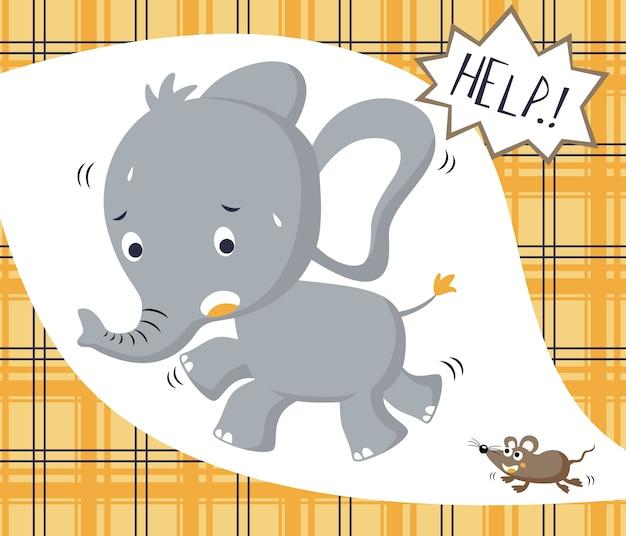 Śmieszna mała słoń kreskówka z myszą