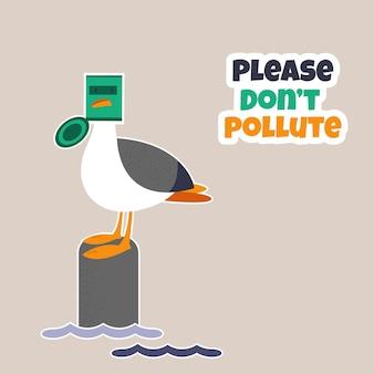 Śmieszna mewa utknęła w puszce. ilustracja kreskówka wektor. przestań zanieczyszczać koncepcję ekologiczną