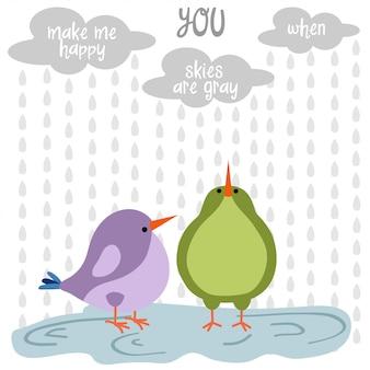 Śmieszna miłość karta z ptakami
