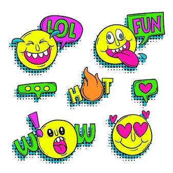 Śmieszna naklejka slang i emoji