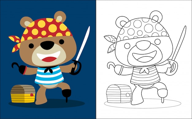 Śmieszna niedźwiadkowa kreskówka z pirata kostiumem