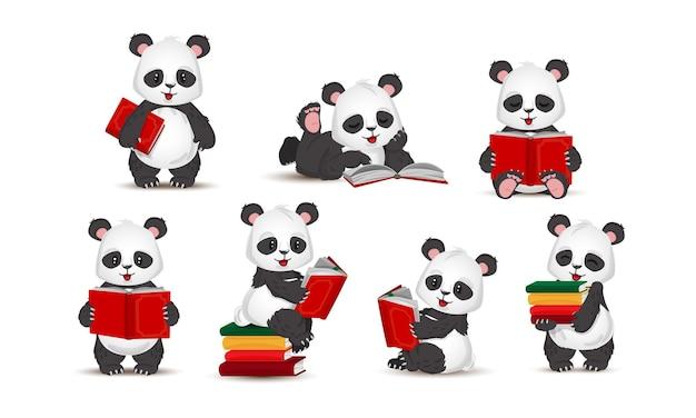 Śmieszna panda czyta książkę. zestaw w stylu kreskówki. wektor, ilustracja na białym tle