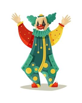 Śmieszna podróżna cyrkowa clown kolorowa ikona