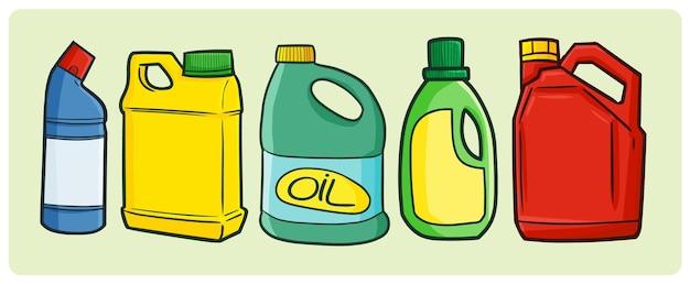Śmieszna pusta kolekcja przemysłowych opakowań olejowych w prostym stylu doodle