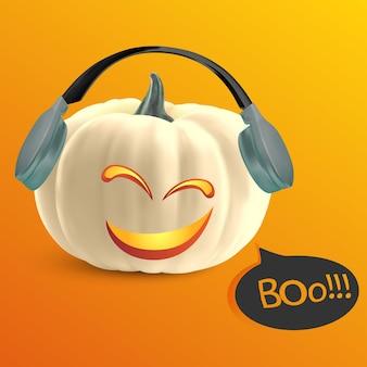 Śmieszna realistyczna biała dynia z kreskówkową twarzą uśmiechniętą na pomarańczowym tle halloweenowa wyprzedaż