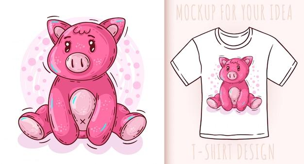 Śmieszna śliczna świnia kreskówka
