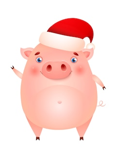 Śmieszna śliczna świnia w santa kapeluszu machał kopyto