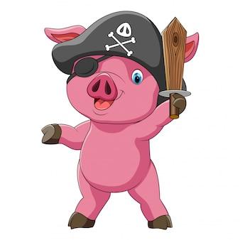 Śmieszna świnia w stroju pirata z mieczem