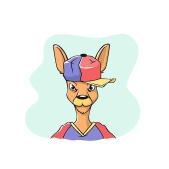 Śmieszna twarz keguru w czapce baseballowej. ilustracja wykonana jest w stylu kreskówki