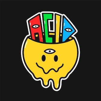 Śmieszna twarz z roztopionym uśmiechem ze słowem acid w środku. wektor ręcznie rysowane doodle styl lat 90-tych charakter ilustracja kreskówka logo. trippy uśmiech twarzy, lsd, kwas, nadruk wycieczki na t-shirt, kartę, naklejkę, łatkę, koncepcję plakatu