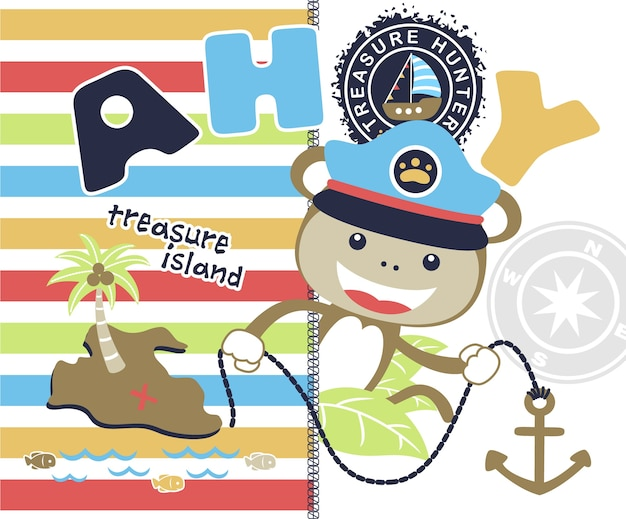 Śmieszna żeglarz kreskówka z kolorowy pasiasty