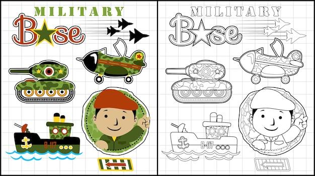 Śmieszna żołnierz kreskówka z pojazdami wojskowymi