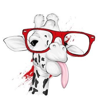 Śmieszna żyrafa w okularach.