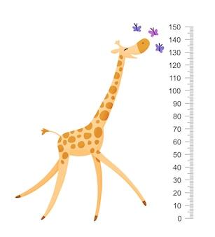 Śmieszna żyrafa. wesoła zabawna żyrafa z długą szyją. miarka żyrafa, miarka wzrostu lub naklejka ścienna. ilustracja ze skalą od 2 do 150 centymetrów do pomiaru wzrostu.