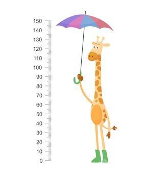 Śmieszna żyrafa. wesoła zabawna żyrafa z długą szyją.