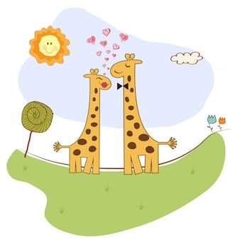Śmieszna żyrafy para w miłości