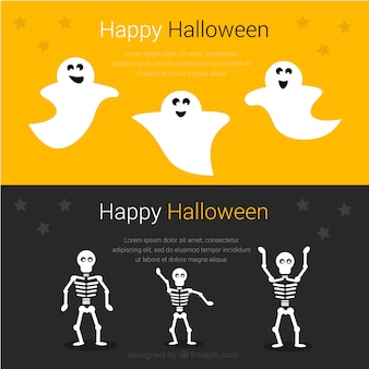 Śmieszne banery dla happy halloween