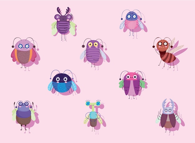 Śmieszne błędy owadów zwierząt ze skrzydłami kreskówka ikony zestaw ilustracji