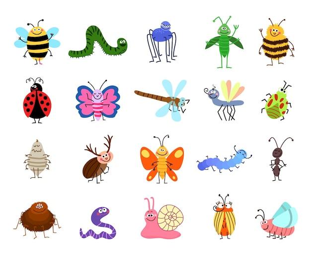 Śmieszne błędy. śliczne błędy i owady na białym tle. zestaw znaków owadów pszczoła i gąsienica, pająk i motyl ilustracja