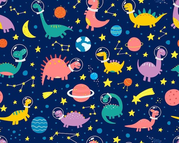 Śmieszne dinozaury w skafandrze kosmicznym w kosmosie z planetami. wzór.