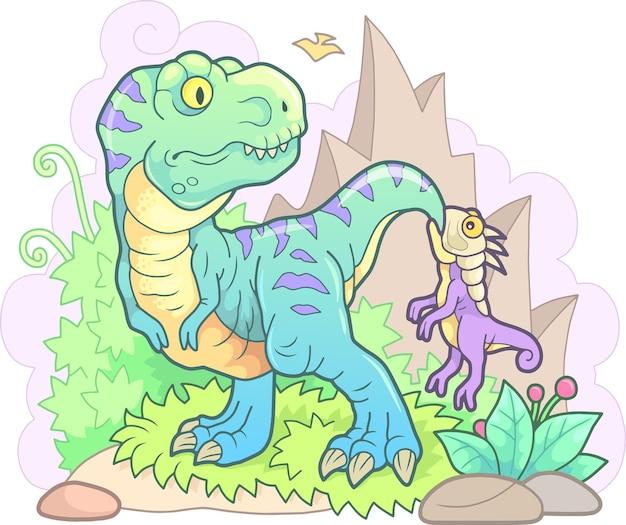Śmieszne dinozaury z górami i roślinami