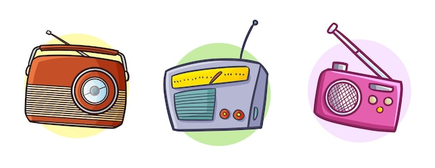 Śmieszne doodle trzy rocznika radia