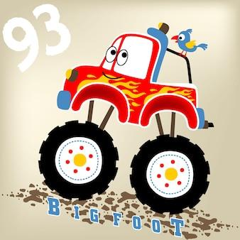 Śmieszne duże ciężarówki kreskówki