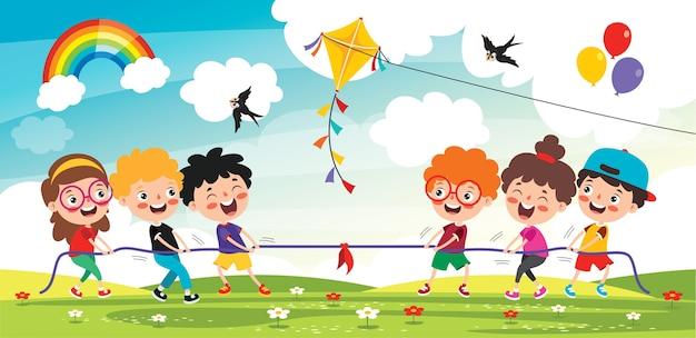 Śmieszne dzieci bawiące się sznurem
