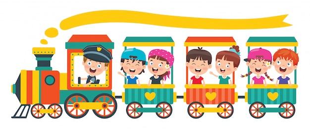 Śmieszne dzieci jadące w pociągu