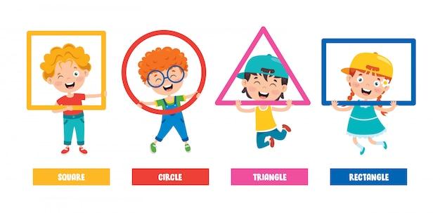 Śmieszne dzieci uczące się podstawowych kształtów