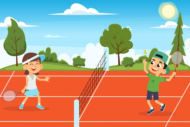 Śmieszne dzieciaki grają w tenisa na korcie.