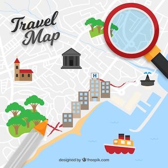 Śmieszne elementy mapy i podróży z płaskiej konstrukcji