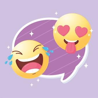 Śmieszne emotikony social media w miłości i szczęśliwa ilustracja