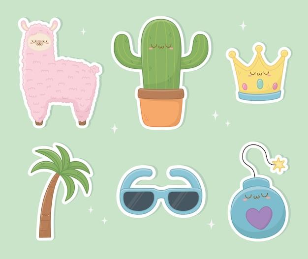 Śmieszne fantasy zestaw znaków kawaii