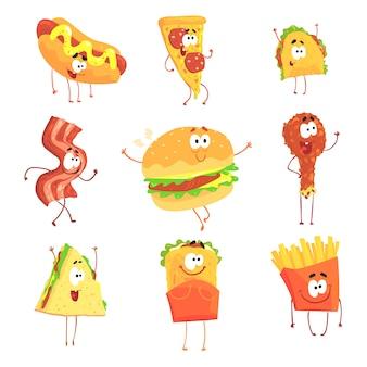 Śmieszne fast foody, zestaw do projektowania etykiet. szczegółowe ilustracje kreskówek