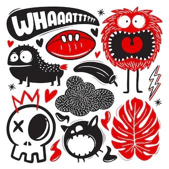 Śmieszne gryzmoły z zestawem potworów