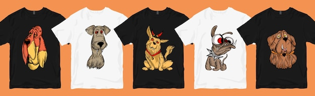Śmieszne i przerażające psy kreskówka t shirt projekt pakiet