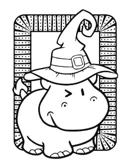 Śmieszne i słodkie uśmiechnięty hipopotam w kapeluszu czarownicy na halloween - kolorowanki