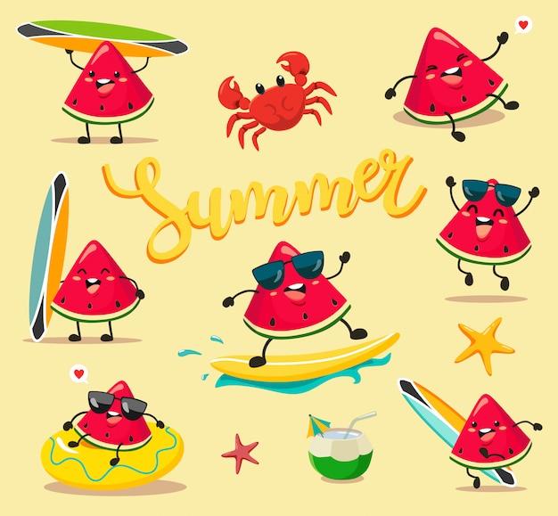 Śmieszne i urocze letnie arbuzy w stylu kawaii w stylu kreskówkowym